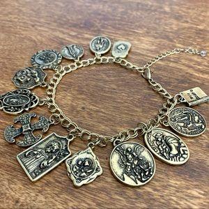 Pray For Us Charm Bracelet in Antique Gold